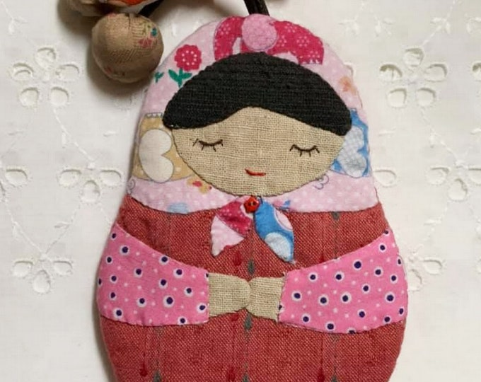 key holder patchwork, handmade key cover, Japanese doll key cover, cute gift, ship from usa, key case, quilt key cover