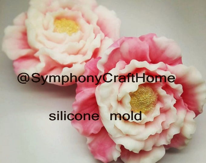 Peony silicone mold, peony mold, resin mold, soap silicone mold, flower mold