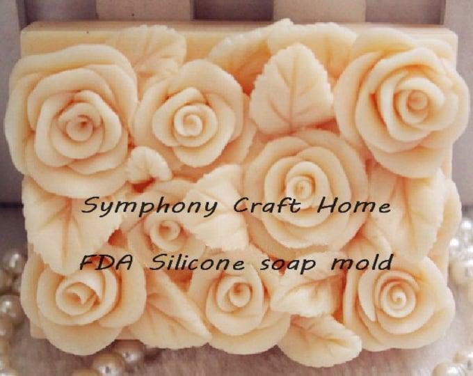 Roses mold, bar rose mold, valentine's mold, wax tart mold, cake mold, resin mold, love mold,fondant mold, mp silicone mold, cp soap mold