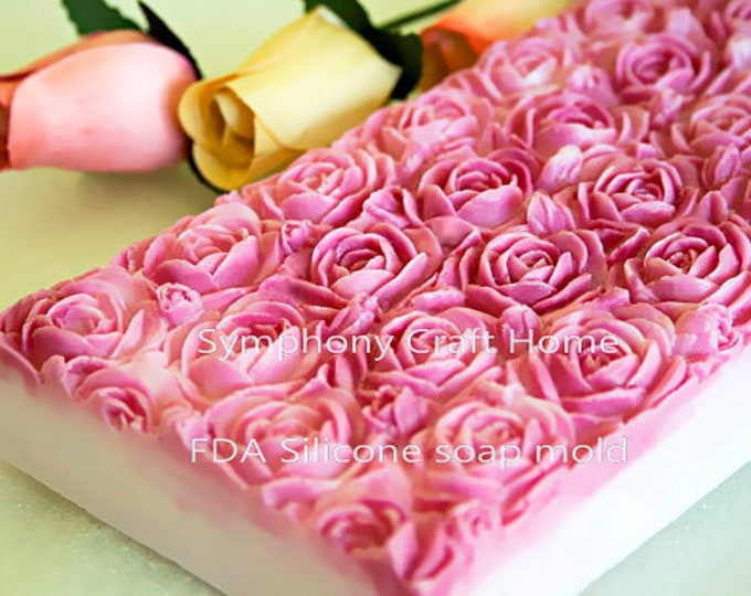 Rose Slab Silicone Mold, rose soap mold, rose tray molds, roses soap molds , Melt and pour mold, slab rose silicone mold, soap mold