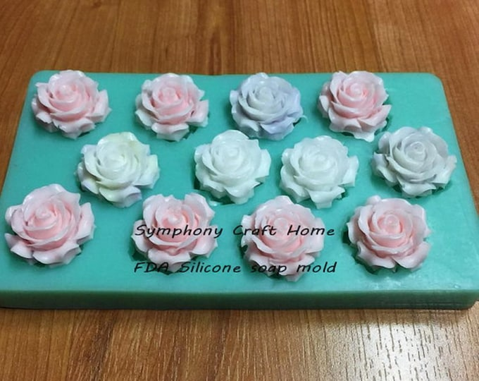 silicone mold rose embed, 12 Cavity Rose mold, silicone soap mold, rose Mold, resin, soap, wax, tart mold. wedding roses, flower mold