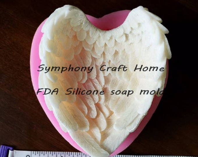3D angel wing mold, angel wing heart mold, heart mold, heart wing soap mold, heart wax mold, polymer heart mold, wing resin mold, 3D wing
