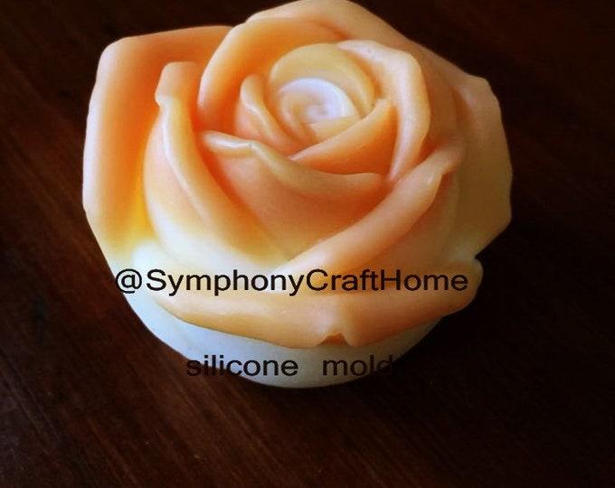 3D rose mold, rose mold, single rose mold, soap mold, resin mold, rose fondant mold, candle mold, rose bud mold, soap mold, ship from U.S.A