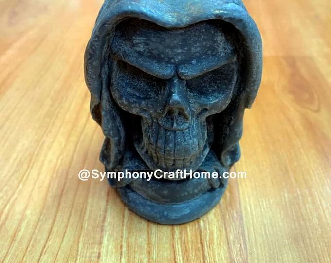 3D skull soap mold, skull and hood mold, Halloween mold, resin mold, candle mold, cake mold, gelatin mold, #skull mold, #Halloween mold