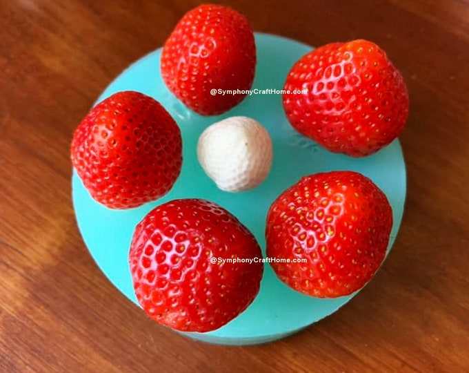 3D strawberry mold real size strawberry #strawberry chocolate mold, embed mold wax tart mold, berry fruit mold, cupcake top,resin clay mold