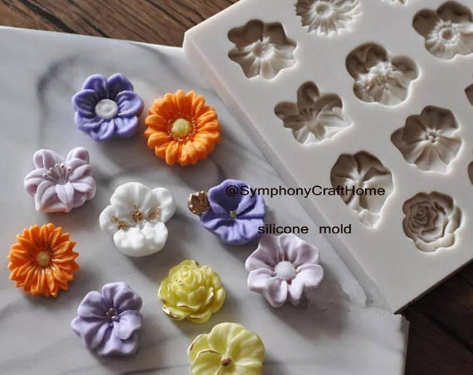 mini flowers sugar mold, fondant flowers mold, resin flower mold, mini flower mold, cake fondant mold, soap mold, embed flower mold