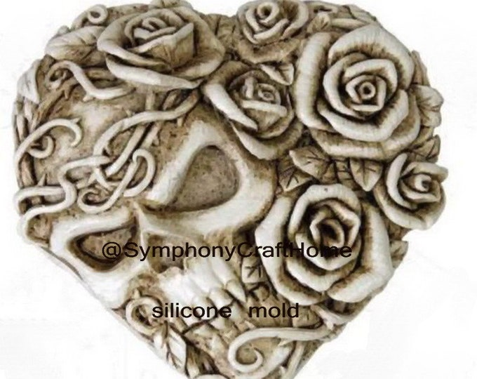 skull heart rose mold, skull mold, rose mold, silicone mold, rose and skull mold, big skull rose mold, resin skull rose, candle skull mold