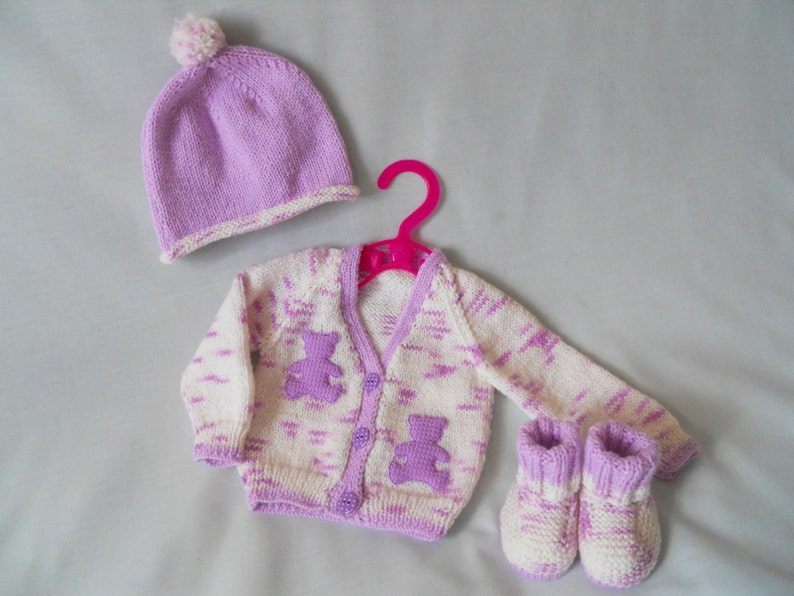 4ff715a9e4a4 Baby Girl Cardigan Set Hand Knitted Baby Coat Jacket Hat