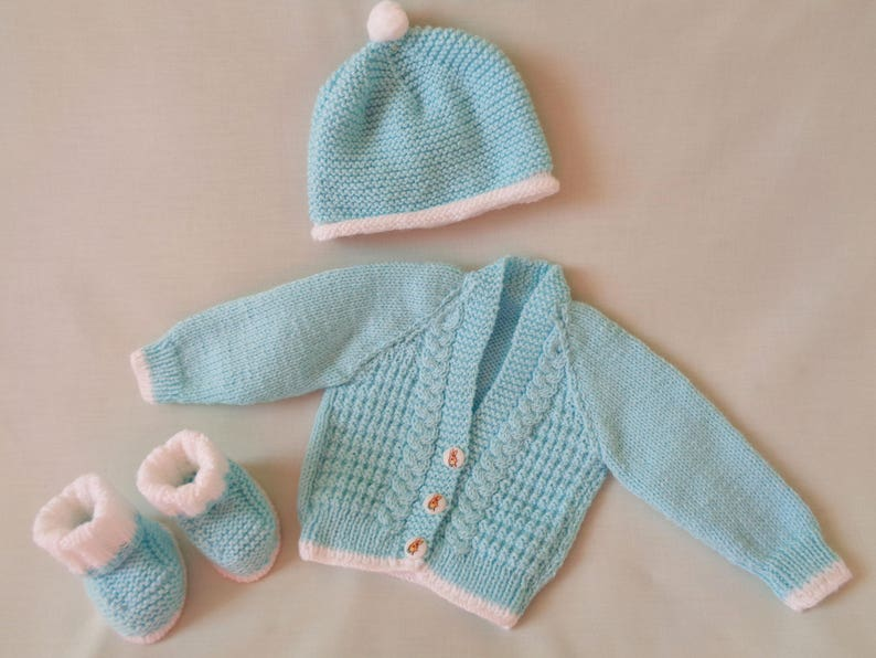 b425d0c98 Baby Boy Cardigan Set Hand Knitted Baby Coat Jacket Hat