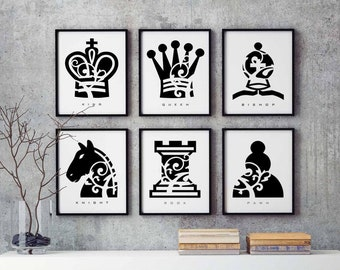 Chess Piece Set of 6 Prints, Gift Set, Abstract Decor, Game Pieces, Bedroom Wall Art