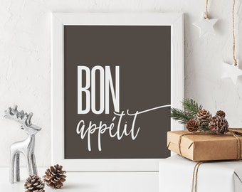 Bon appétit Print, French expression, Cafe or Kitchen Wall Decor
