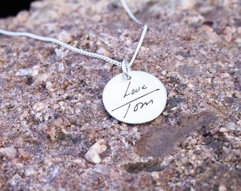 Custom Handwriting Necklace - Handwriting Jewelry - Memorial Necklace - Signature Jewelry - Signature Necklace - Personalized Engraved