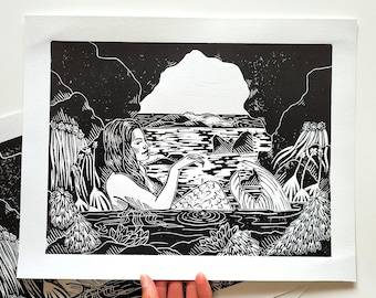 Relaxing At Home - hand-printed lino-cut/block print depicting a mermaid relaxing in a tide pool cave - wall art, home decor, printmaking