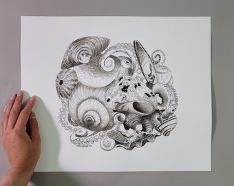 Octopus in Sea Shells - Original Pen and Ink Drawing - Art for Your Walls, Coastal Home Decor, Ocean Artwork, Beach Lover