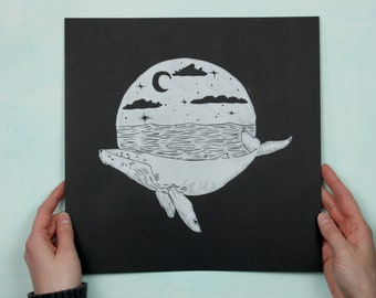 Limited Edition - Humpback Whale in Moonlight - Handmade Lino-cut Block Print depicting a humpback whale under a moonlit sky