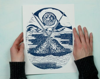 Narwhal Love - Handmade Lino-cut Block Print - art print of two narwhal whales under the moon in a wintery arctic scene