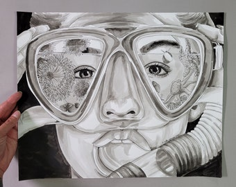 Tide Pool Snorkel Mask - Original Pen and Ink Drawing - Art for Your Walls, Coastal Home Decor, Ocean Artwork, Beach Lover