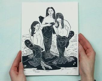 Selkies - Lino-cut Block Print depicting selkies putting on their seal skins to hop into the ocean - folklore, seal people, handmade