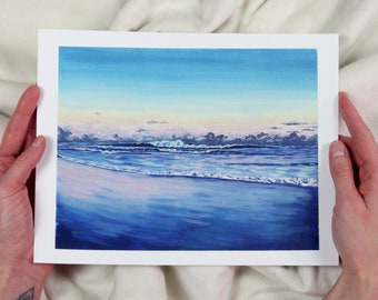 Lawrencetown Sunset Surf - Art Print of Original Gouache Painting - ocean, waves, beach, surf, surfer, landscape, painting, coastal