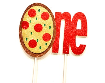 ONE Pizza Cake Topper | Glitter Banner | Birthday Decor | Pizza Party | Birthday Party | Pizza Birthday | 1st Birthday |