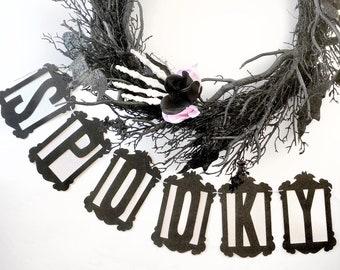 SPOOKY Banner | Halloween Decor | Halloween Banner | Spooky | Glitter Banner | Bat Garland | Halloween Party | Halloween Garland
