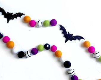 Glitter Bat + Felt Ball Garland | Halloween Decor | Halloween Banner | Spooky | Felt Ball Garland | Bat Garland | Halloween Party | Bats