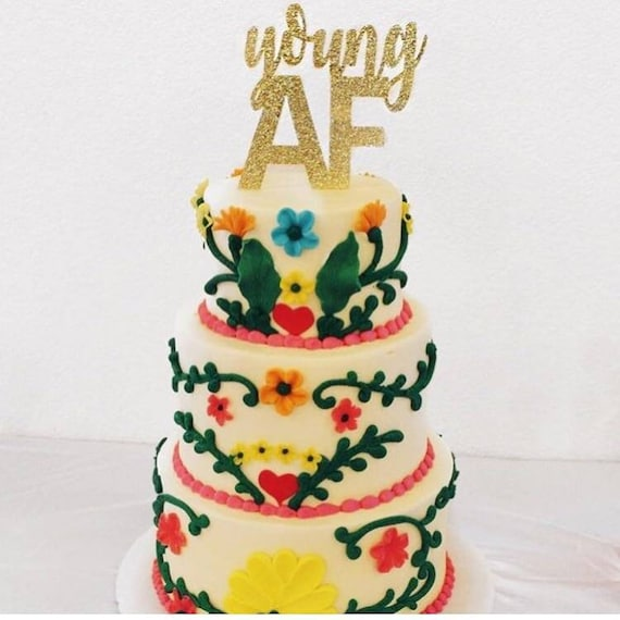 Cool Young Af Glitter Cake Topper Funny Birthday Cake 21St Etsy Personalised Birthday Cards Veneteletsinfo