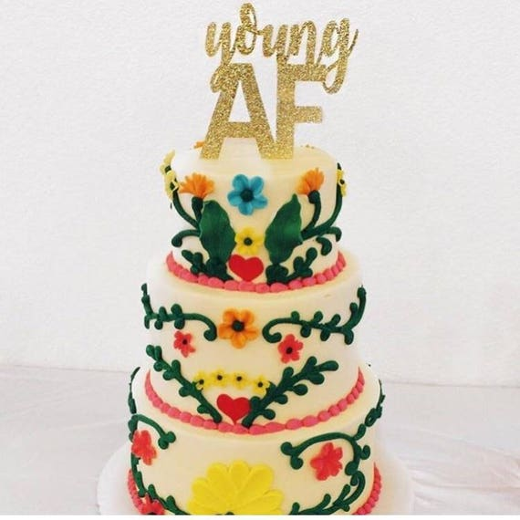 Surprising Young Af Glitter Cake Topper Funny Birthday Cake 21St Etsy Birthday Cards Printable Trancafe Filternl