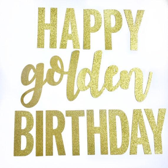 Gouden Gefeliciteerd Glitter Banner Gouden Verjaardag Etsy