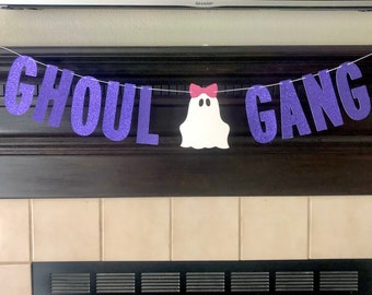 Ghoul Gang  Banner | Halloween Decor | Halloween Banner | Spooky | Glitter Banner | Bat Garland | Halloween Party | Halloween
