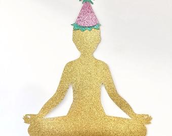 Birthday YogiCake Topper | Glitter Cake Topper | Birthday Decor | Yoga Party | Yoga Gift | Gifts For Yogis | Cake Topper | Glitter Decor