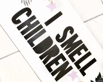 I Smell Children Banner | Halloween Decor | Halloween Banner | Spooky | Glitter Banner | Bat Garland | Halloween Party | Halloween Garland