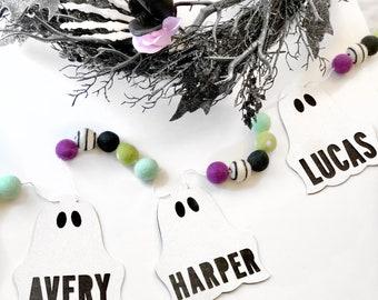 Personalized Ghost + Felt Ball Garland | Halloween Decor | Halloween Banner | Spoopy | Felt Ball Garland |Pumpkin Garland|Halloween Party