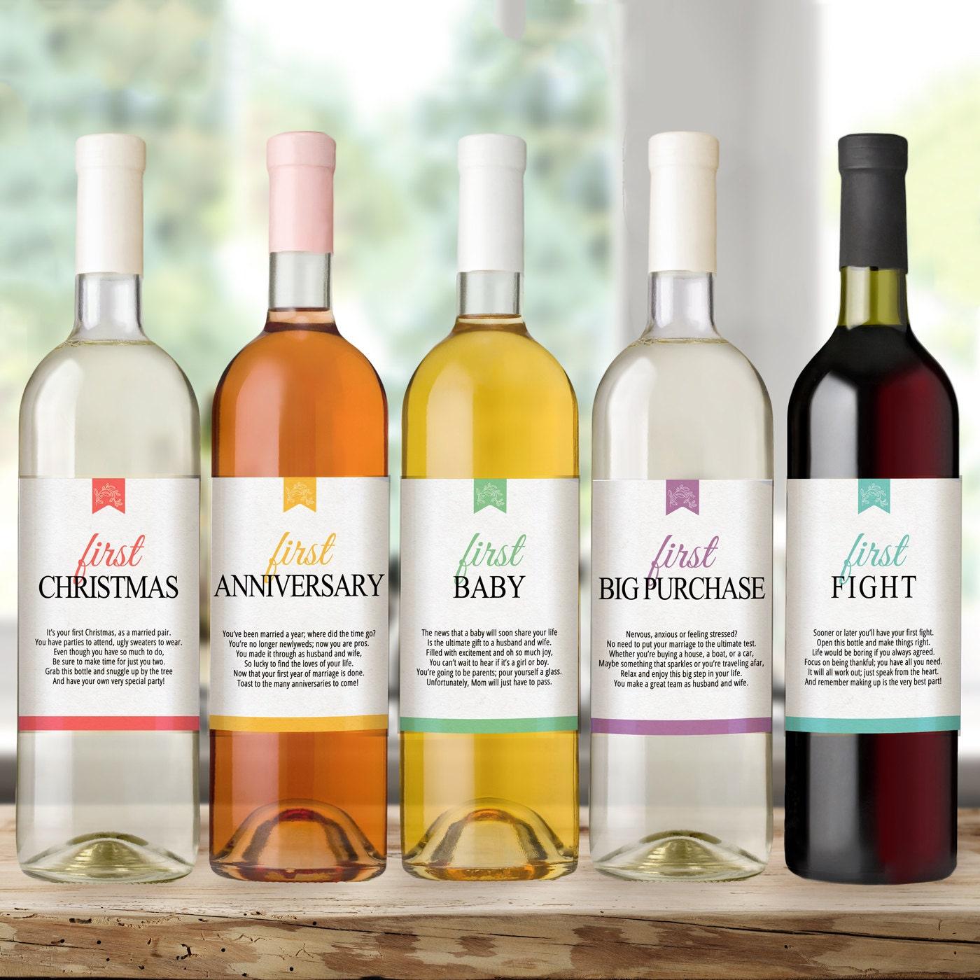 Waterproof Wedding Wine Bottle Labels for Wedding Gift Bridal | Etsy