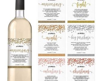 Wedding First Wine Bottle Labels, Set of 6 Waterproof Labels, Wedding Gift, Marriage Milestones, Social Distancing Wedding Wine Gift