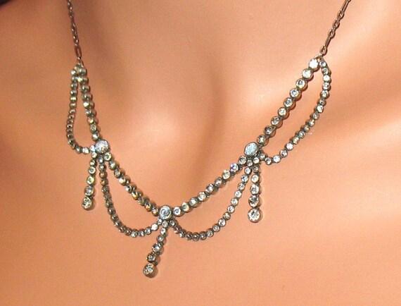 1920s Necklace, Edwardian Paste Necklace, Victoria