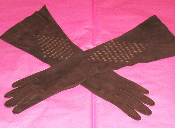 1950s Long Brown Suede Gloves, High Fashion, Vinta