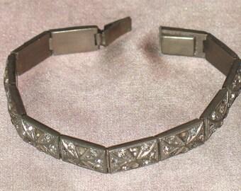 1930s Bracelet, Deco Rhinestone Bracelet, 1930s Pot Metal Bracelet , Art Deco Era Silver Bracelet, 20s Art  Deco Bracelet, 30s Rhinestones