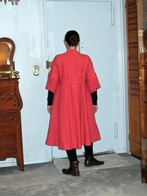 1950s Bright Pink Coat with Lovely Details, Long W