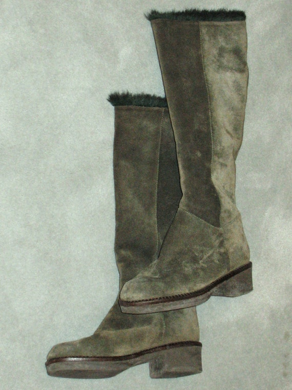 1980s Suede Boots, Vintage Boots, 90s Boots in Exc