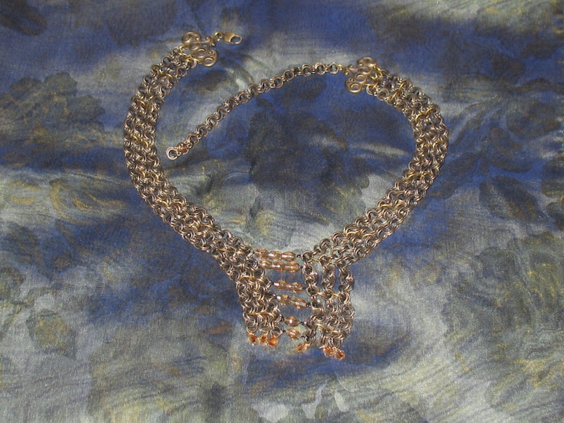 1980s Necklace Beaded Necklace Gisele Theriault Elegant Necklace Pale Pinkish Brown Beads on Antique Brass Chain 1990s Necklace