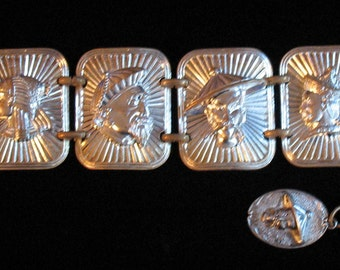 1950s Bracelet, Mid Century Jewelry, Faces Bracelet, 1950s Link Bracelet, Asian Faces, Silver Tone Charm Bracelet with Figural Face Designs