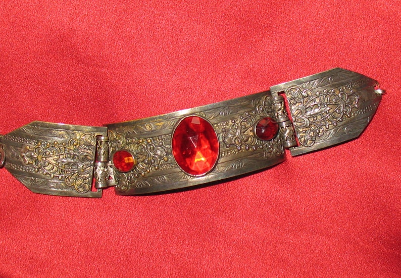 1930s Bracelet Scroll Work on Three-Link Bracelet from the 30s 30s Bracelet in Silvertone with Red Faceted Glass Stones 1930s 1920s