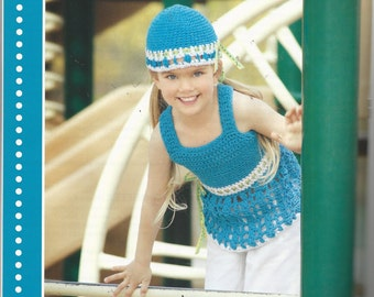 Pattern Booklet - SUMMER CHROCHET FUN - 15 Projects - Tops, Hats, Pant Ruffles - Several Styles of Flowers Floppy Hats, Beanies and more!