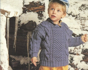 "Boys Knitting Pattern Jacket with Hood 20-26/"" Aran  219"