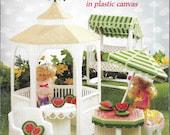 Fashion Doll Barbie Doll Plastic Canvas Pattern Booklet, SUMMER GARDEN, Barbie Size Outdoor Furniture, Accessories - Gazebo, Swing, Umbrella