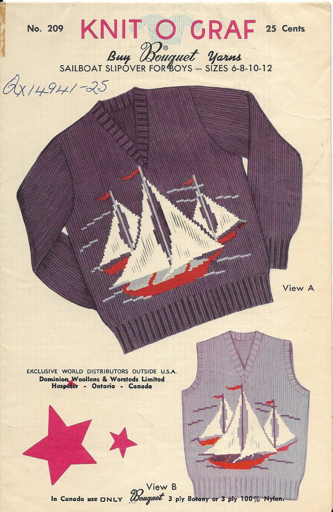 Knitting Pattern 1954 Knit O Graf Vintage Sweater & Vest
