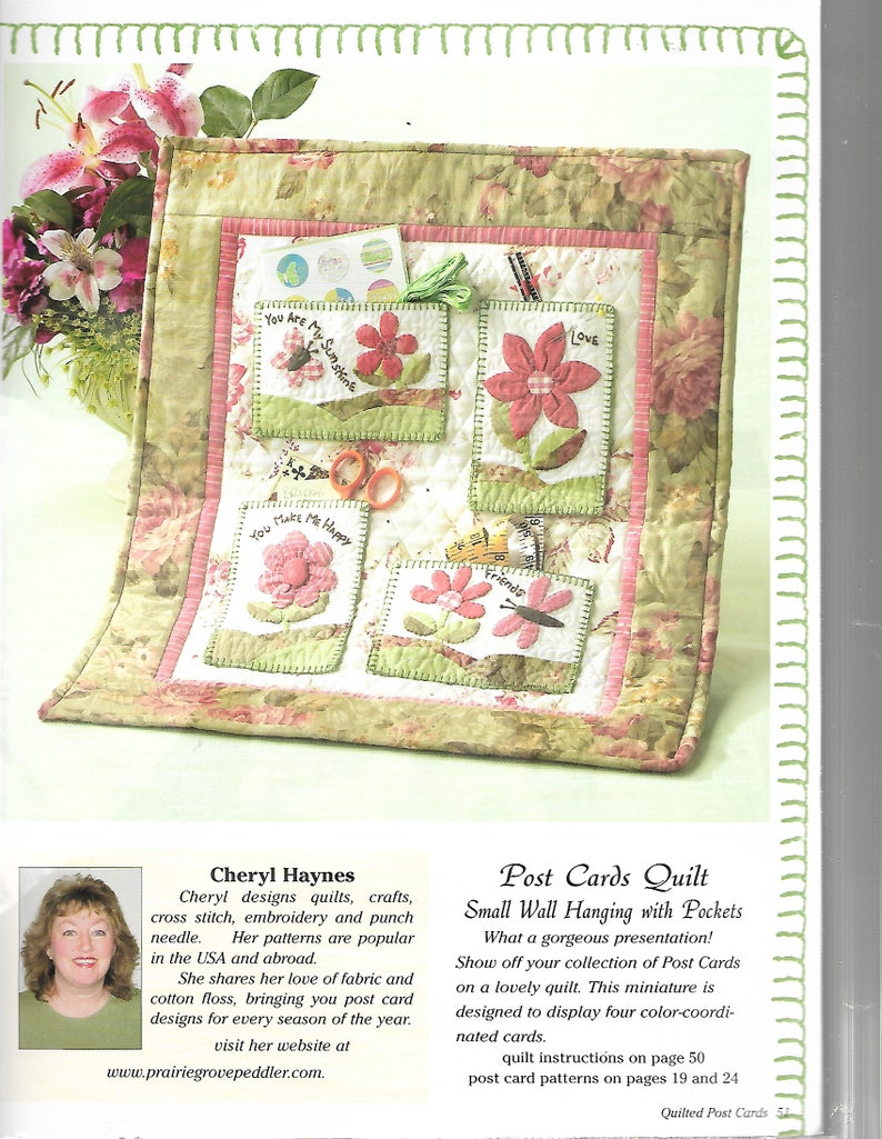 DIY Postcard Patterns Quilted Wall Hanging 2008 Embroidery Post Cards Applique Post Card Quilted POST CARD Pattern Quilting Post Cards