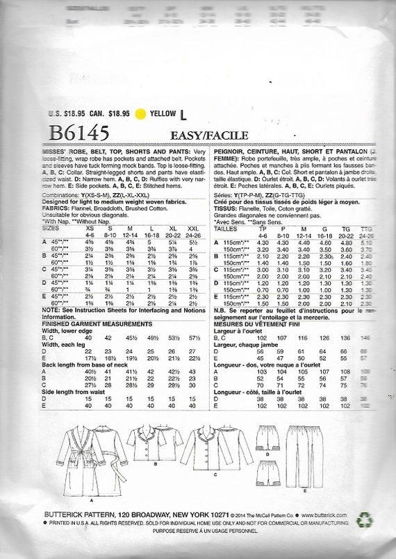 B6145 Butterick Sewing Pattern Misses/' Pajamas Sleepwear Robe Top Shorts Pants