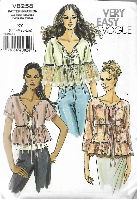 Uncut Very Easy VOGUE Sewing Patterns V40 Misses Frilly Etsy Simple Vogue Sewing Patterns